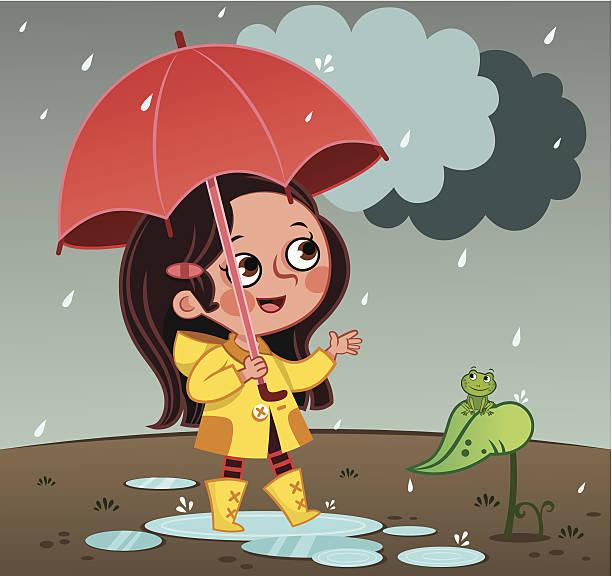 raining - kids playing in rain stock illustrations, clip art, cartoons, & icons