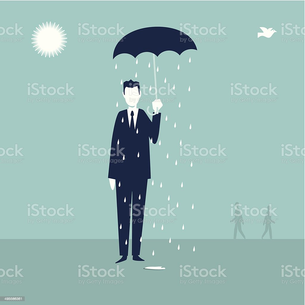 Raining vector art illustration