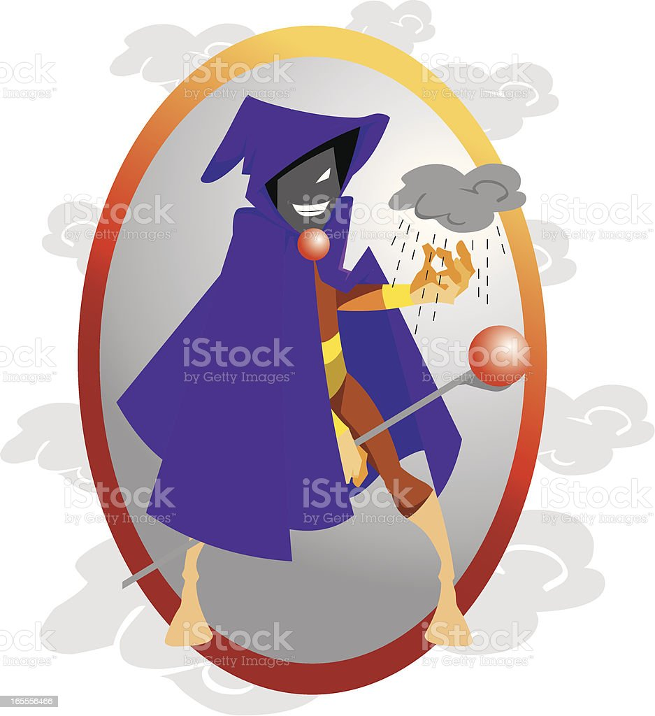 Rainmaker Man Cartoon Character vector art illustration