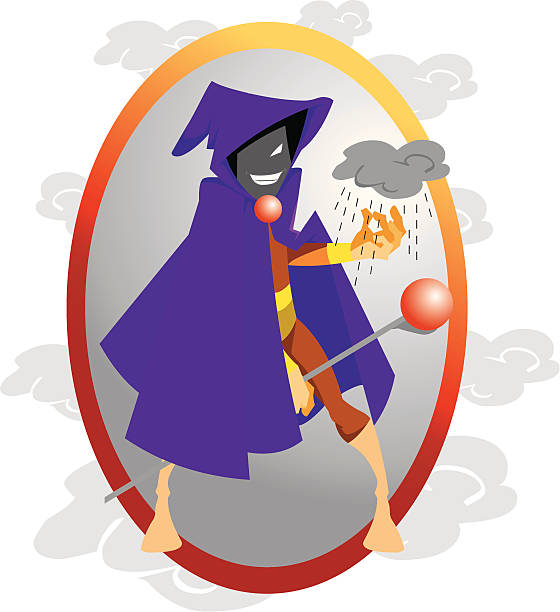 rainmaker man cartoon character - byteandpixel stock illustrations