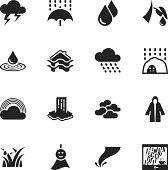 Rains Season Silhouette Icons