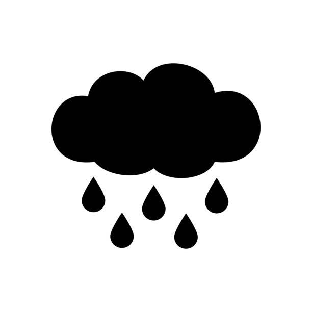Rainy cloud icon Rainy cloud icon isolated on white background rain stock illustrations