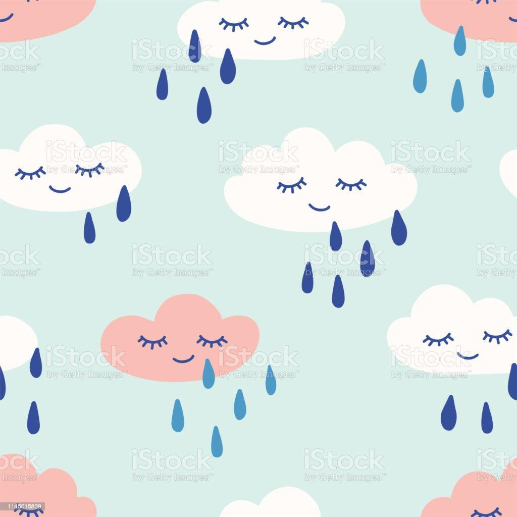 Nuages Pluvieux Avec Des Yeux Et Sourire Modele Sans Couture Mignon Imprimer Pour Les Enfants Illustration Dessinee A La Main De Vecteur Vecteurs Libres De Droits Et Plus D Images Vectorielles De A