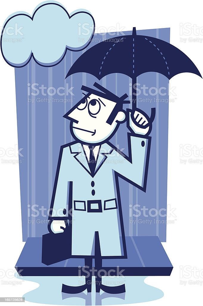 rainy day businessman vector art illustration