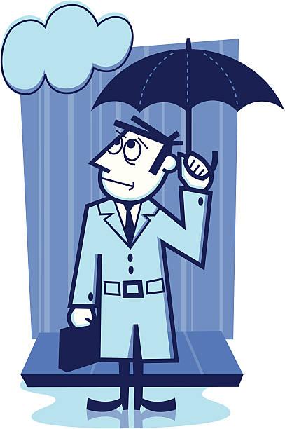 rainy day businessman - peter bajohr stock illustrations