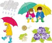 Rainy day children Clip Art set