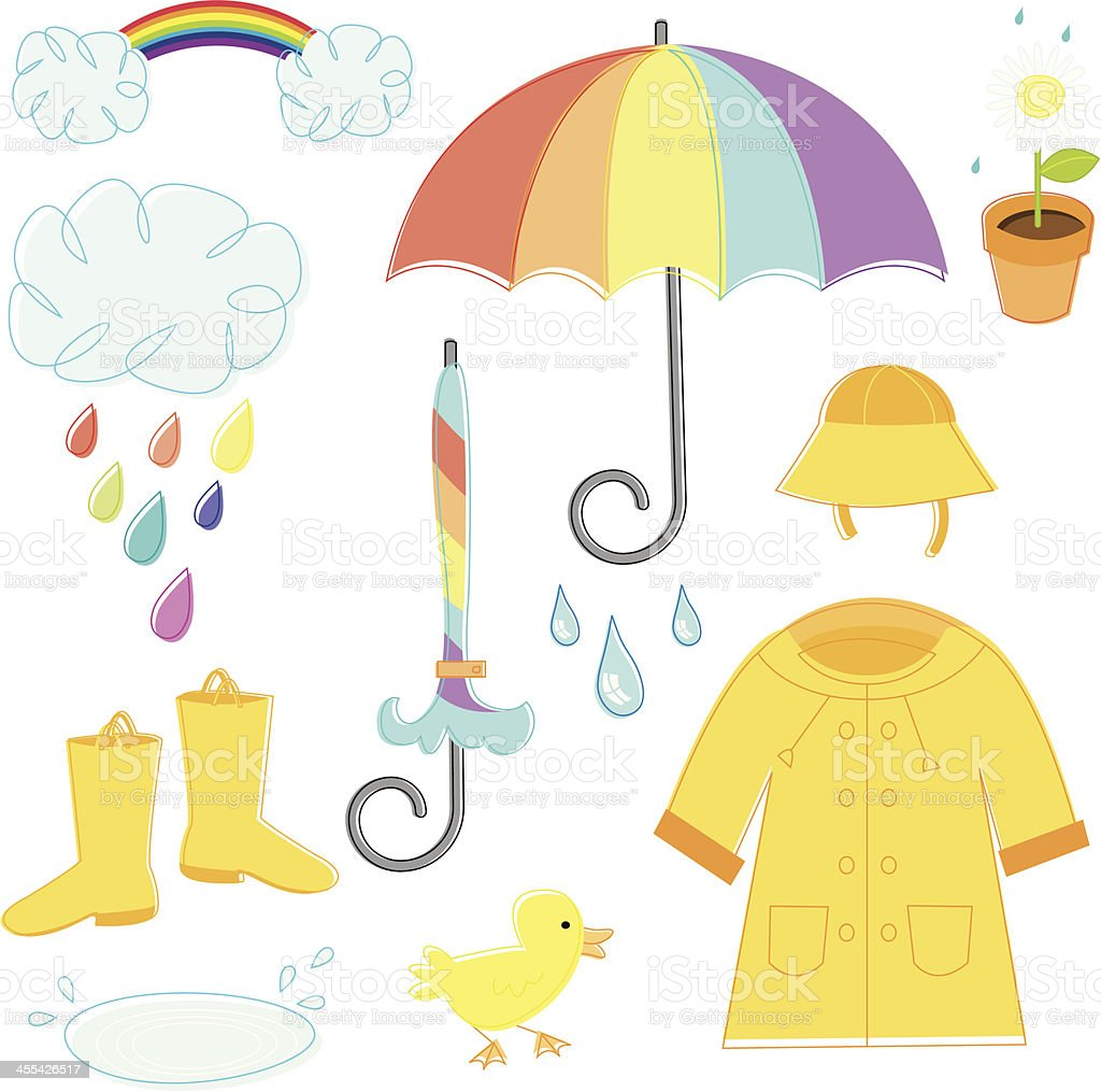 Rainy Day Essentials vector art illustration