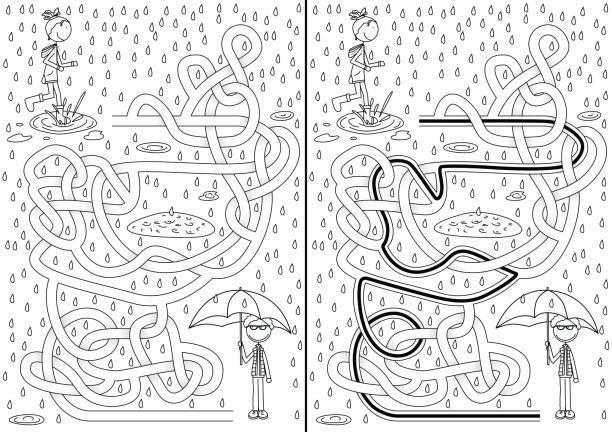 Dia chuvoso labirinto - ilustração de arte em vetor