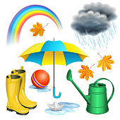 Rainy day set. Umbrella, boots, rainbow, clouds with raindrops, paper boat in puddle, green watering can, children red ball, maple leaves. Autumn rain, childhood concept. Vector illustration