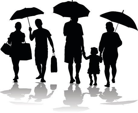 Rainy Day Silhouette Family And Couple