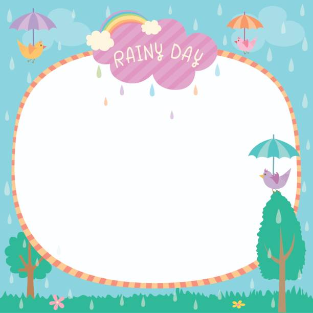 stockillustraties, clipart, cartoons en iconen met regenachtige dag sjabloon - bloemen storm