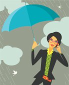 Fashionable woman holding an umbrella during rainy day. Eps and hi-res jpg.