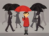 A vector illustration of a girl with her red umbrella on a rainy day. Linear and radial gradients used. Transparencies used. No meshes.