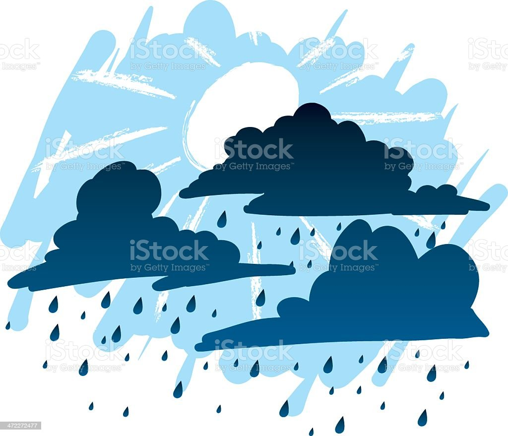 rainy day vector art illustration