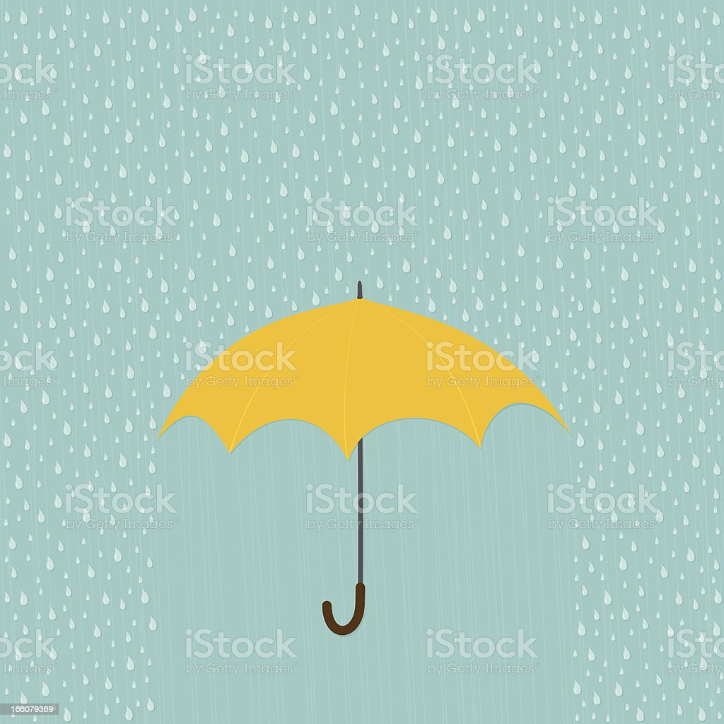 Rainy day with umbrella vector art illustration