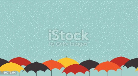 Contemporary styled illustration of colorful umbrellas in the rain.  Seamless - repeats horizontally.  AI CS4 file and large jpg included.  All elements labeled and organized on separate layers for easy changes.