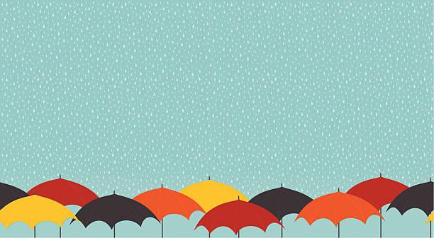 雨の日には、パラソル - 雨点のイラスト素材/クリップアート素材/マンガ素材/アイコン素材