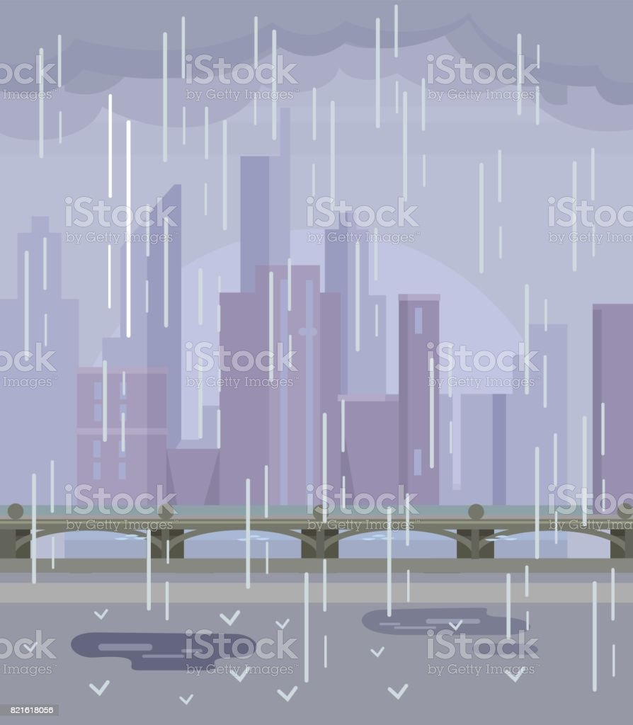 Rainy empty city. No people vector art illustration