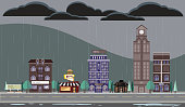 Rainy or stormy Season Cityscape with buildings. Vector illustration contains burger and fries restaurant, hotel, clock tower, hair salon, boardwalk, rolling green hills, cityscape, skyscrapers, urban, high rise buildings, cultivated trees and a quaint port city vibe. Printable, scalable, editable. File is EPS10