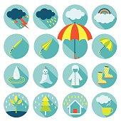 Rainy Season Flat Icons Set