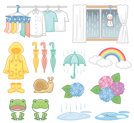 Rainy season illustration material
