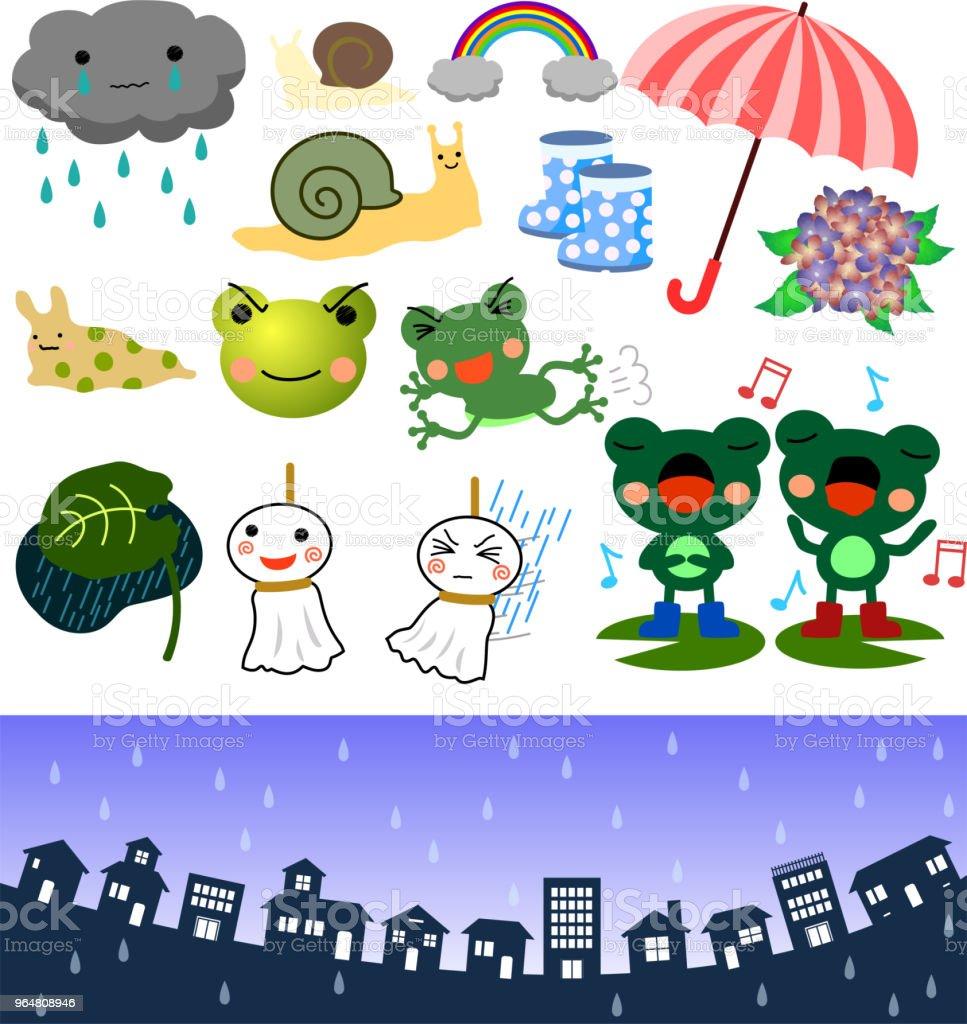 Rainy season illustration set 2 vector art illustration