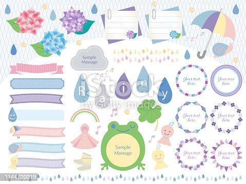 Rainy season illustration set in Japan