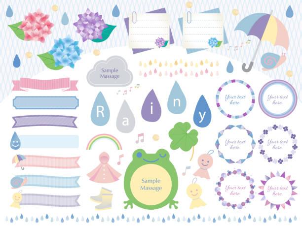 日本の梅雨のイラストセット - 雨点のイラスト素材/クリップアート素材/マンガ素材/アイコン素材