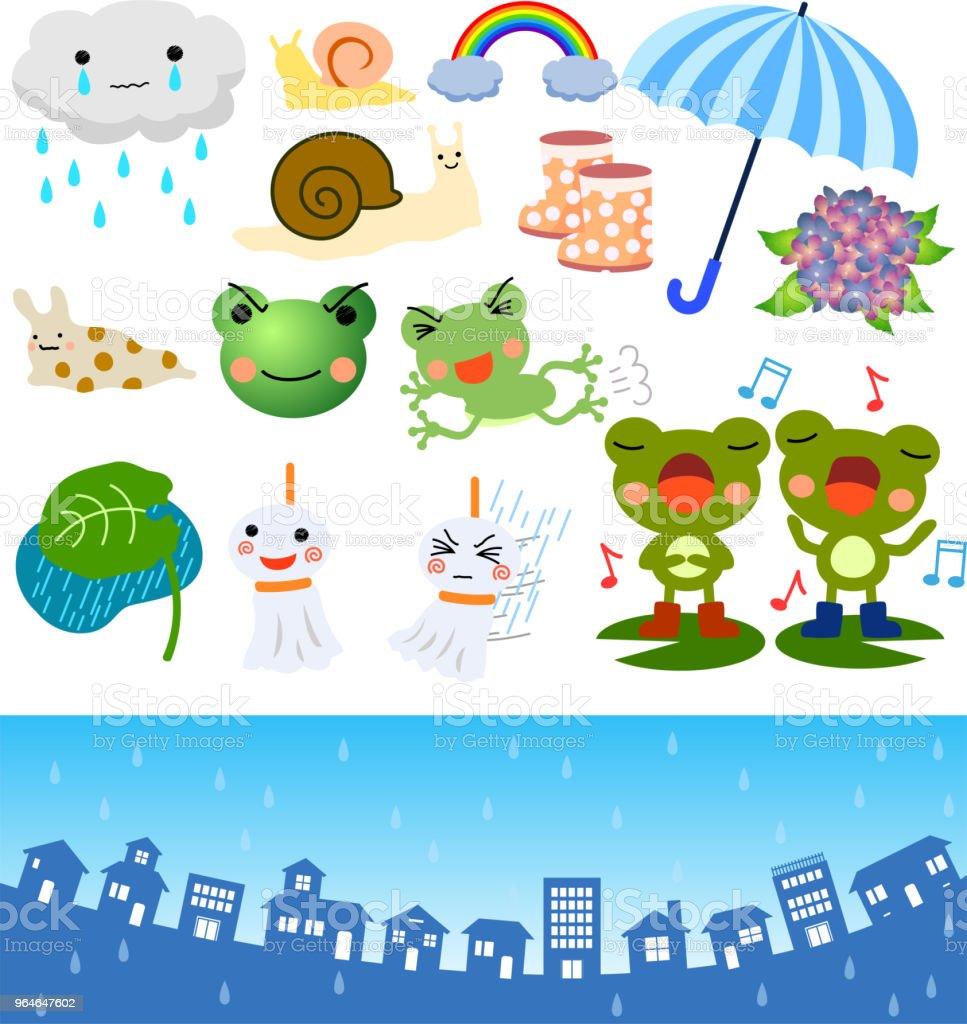 Rainy season illustration set vector art illustration