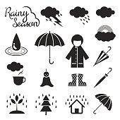 Rainy Season Mono Icons Set
