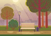 Vector illustration of raining in city park with town building background, path, bench and street lamp.