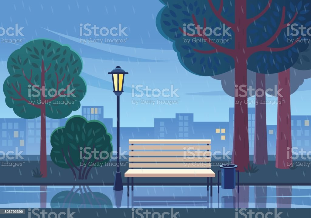 Rainy summer day in the park. - Royalty-free Backgrounds stock vector