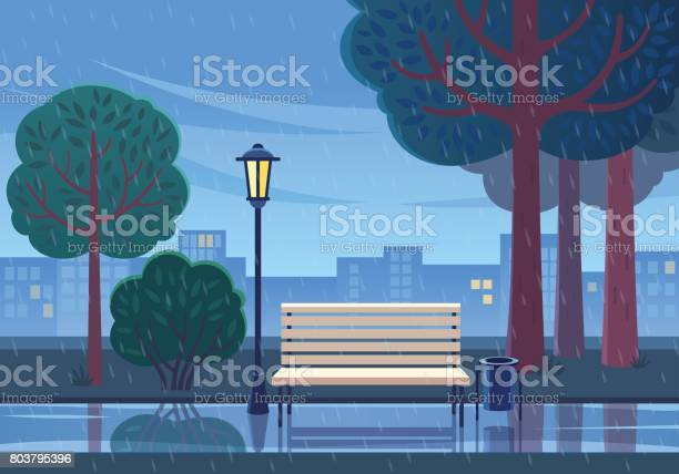 Rainy Summer Day In The Park Stock Illustration - Download Image Now