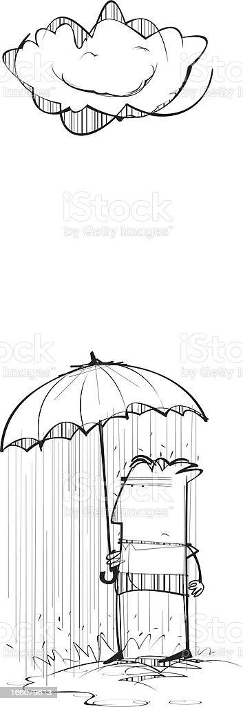 Rainy Umbrella vector art illustration