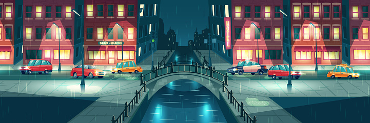 Rainy weather on night city streets cartoon vector