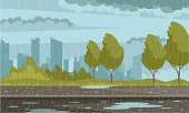 istock Rainy weather urban background. Outdoor street in rain, pavement in puddles, sky with clouds, buildings. Autumn bad weather vector illustration. Modern roadside in rain storm 1271367650
