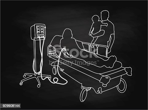 Chalkboard illustration of a father and his baby standing by mom lying in a hospital bed