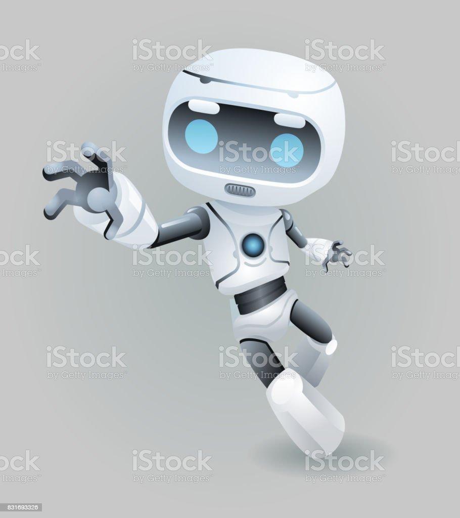 Zam sürükle kapmak el maskot robotu yenilik teknoloji bilim kurgu şirin küçük 3d simgesi yapay zeka tasarım vektör çizim gelecek vektör sanat illüstrasyonu
