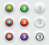 Vector illustration of raised buttons set. Elements are layered separately in vector file. CMYK color mode.
