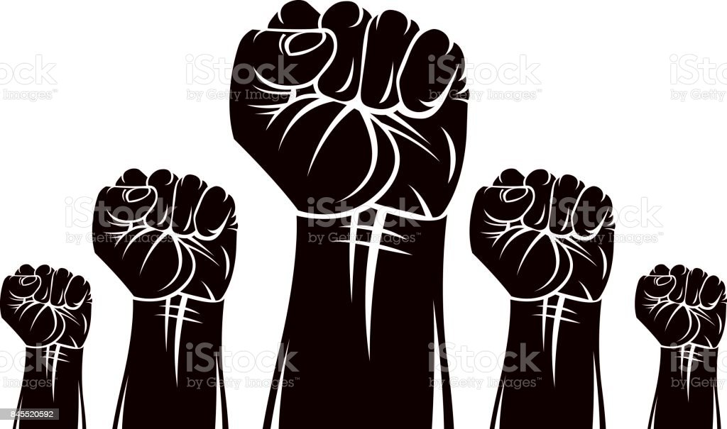 Raised Clenched Fists Vector Illustration Revolution Idea Symbol Can