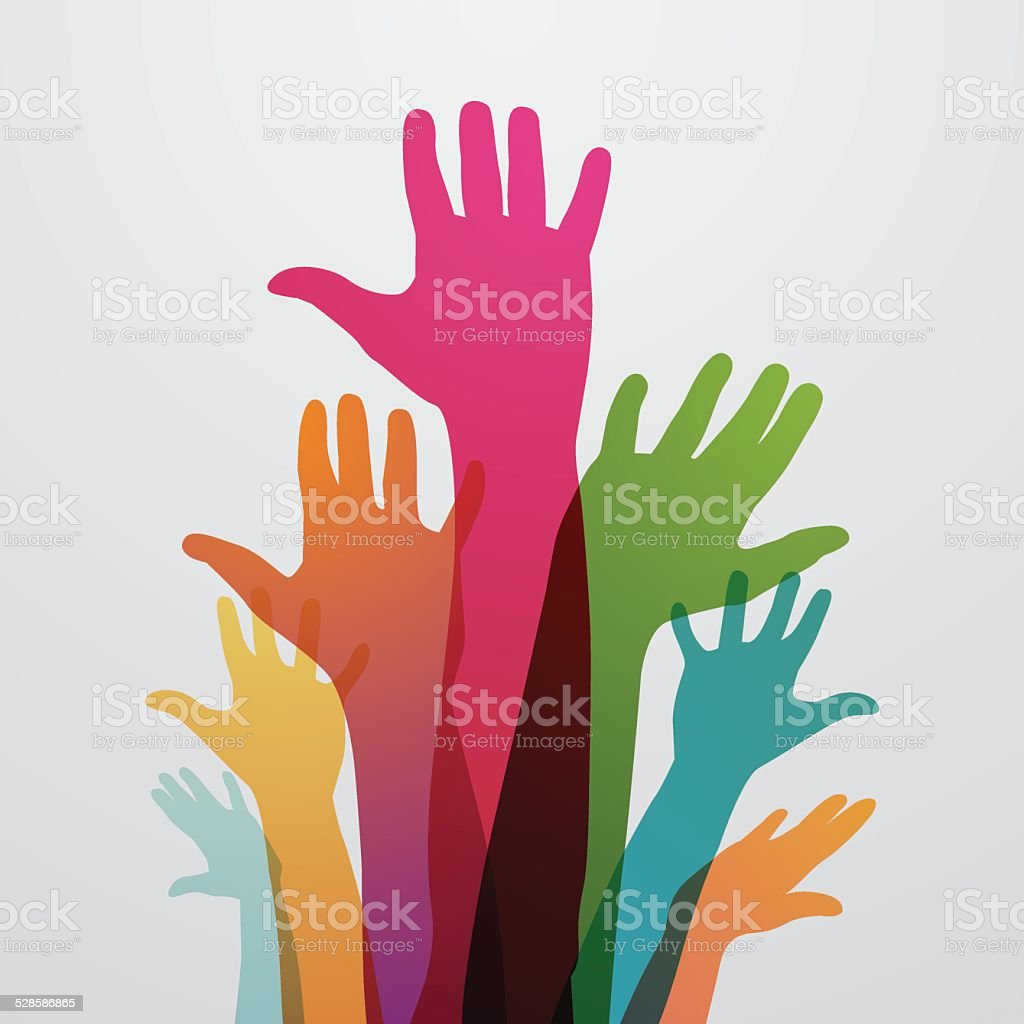 Raised colourful hands vector art illustration