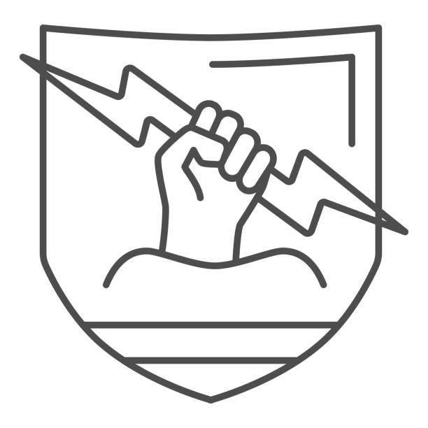 Raised fist and lightning thin line icon,  concept, Lightning in fist sign on white background, Protest strong arm raised up icon in outline style for mobile. Vector graphics. Raised fist and lightning thin line icon,  concept, Lightning in fist sign on white background, Protest strong arm raised up icon in outline style for mobile. Vector graphics human limb stock illustrations