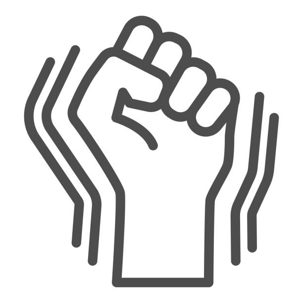 Raised fist gesture line icon,  concept, Human hand up  sign on white background, Fist raised up icon in outline style for mobile concept, web design. Vector graphics. Raised fist gesture line icon,  concept, Human hand up  sign on white background, Fist raised up icon in outline style for mobile concept, web design. Vector graphics human limb stock illustrations