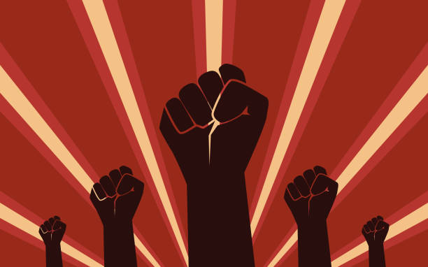 Raised Fist Hand Protest in flat icon design on red color ray background vector art illustration