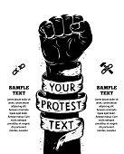 Raised fist held in protest. Vector illustration