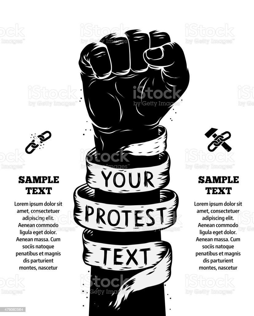 Levantou primeira, em protesto. TM - ilustração de arte em vetor