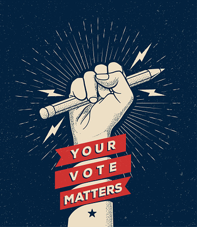Raised fist silhouette holding pencil on navy blue background with Your Vote Matters sign. Election themed vectoreps 10  illustration for poster or flyer design.