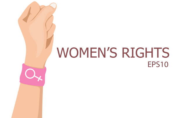 raised fist with bracelet create with pink wristband design female sex or alchemical symbol,vector of women's rights concept raised fist with bracelet create with pink wristband design female sex or alchemical symbol, vector of women's rights concept battle of the sexes concept stock illustrations