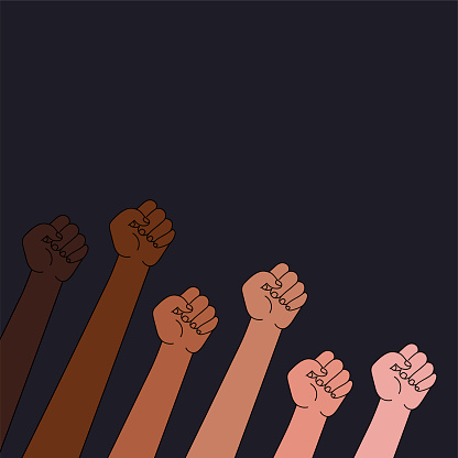 Raised fists multinational society with slogan protest . Anti racism and racial equality and tolerance banner. democracy, protest, activism.poser,vector illustration, social media template