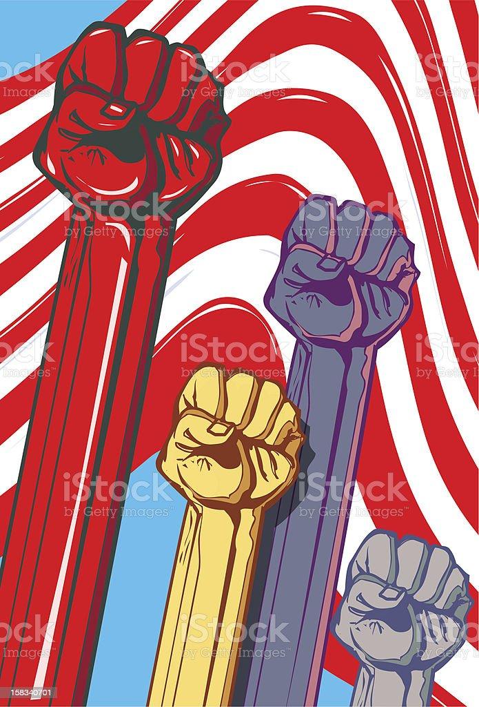 Raised fists royalty-free stock vector art
